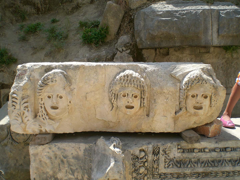 Theatre masks in Myra